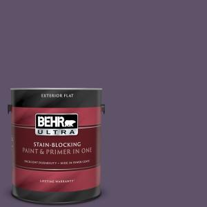 Behr Ultra 1 Gal Ppu17 04 Darkest Grape Flat Exterior Paint And Primer In One 485301 The Home Depot