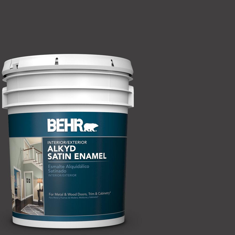 BEHR 5 gal  #N510-7 Blackout Satin Enamel Alkyd Interior/Exterior Paint