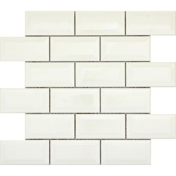 Vogue Biscuit Bevel Matte 12.13 in. x 12.36 in. x 8 mm Ceramic Mesh-Mounted Mosaic Tile (1.04 sq. ft.)