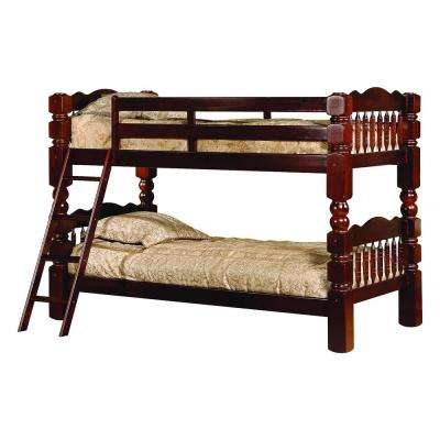 Jacob Cherry Wood Twin Over Twin Country Style Convertible Bunk Bed