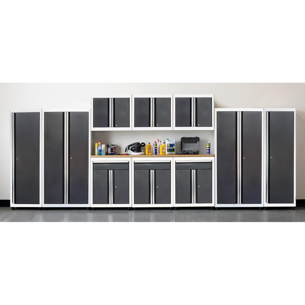 American Heritage 75 in. H x 210 in. W x 18 in. D Welded Steel Garage Cabinet Set in White/Charcoal (11-Piece)