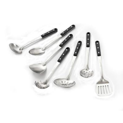 7-Piece Stainless Steel Professional Kitchen Tools with Black ABS Handles Set