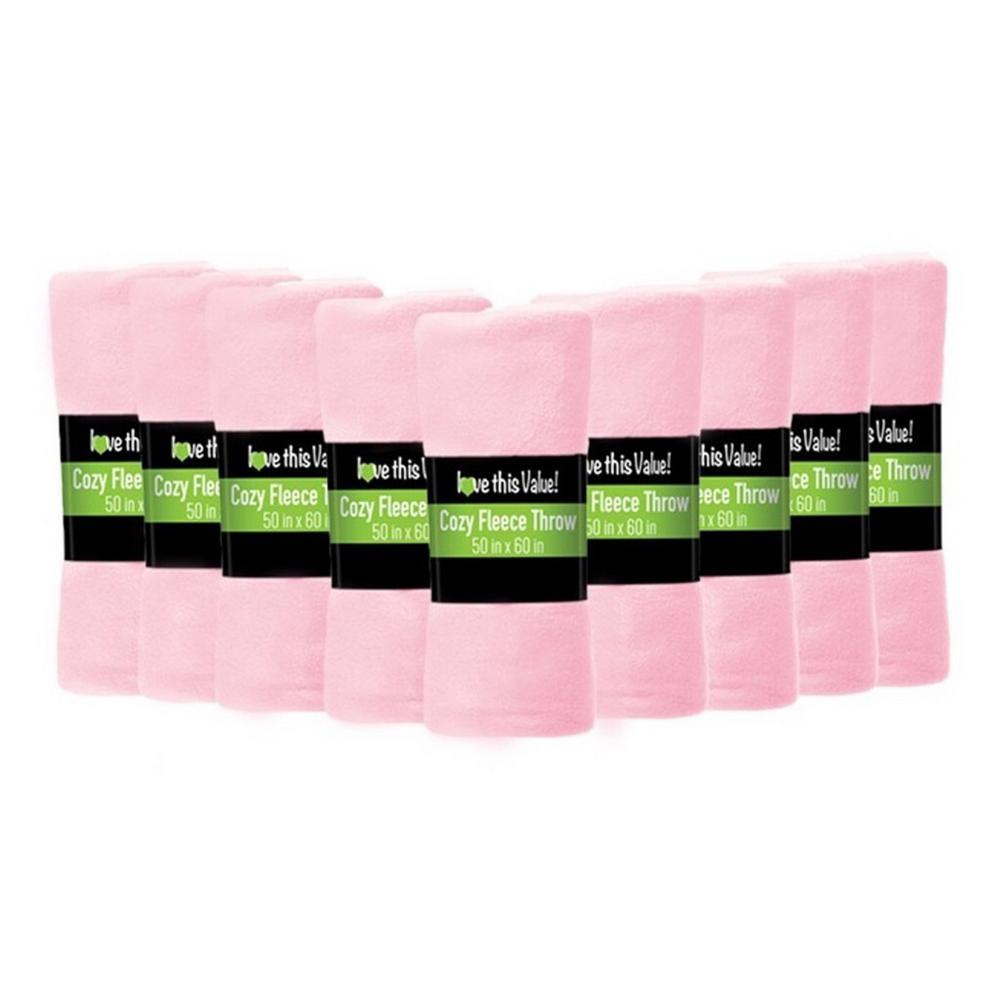 50 in. x 60 in. Pink Super Soft Fleece Throw Blanket (24-Pack)
