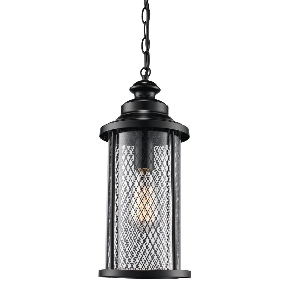 Black Finish Outdoor 1-Light Hanging Lantern with Mesh Frame