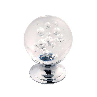 Gemstone Collection 1-1/4 in. Dia Glass with Chrome Finish Cabinet Knob