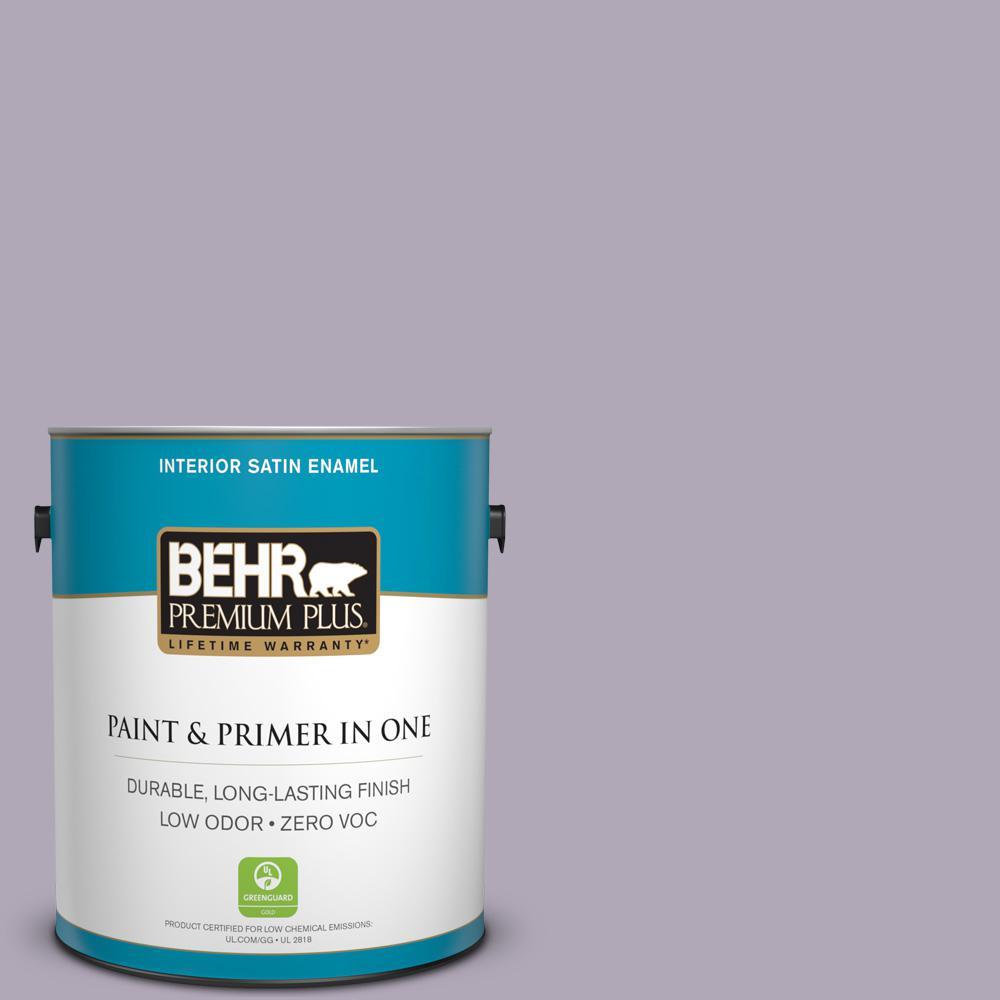 BEHR Premium Plus 1-gal. #660F-4 Plum Frost Zero VOC Satin Enamel Interior Paint