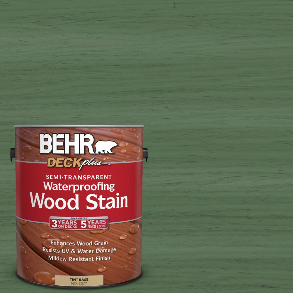 BEHR DECKplus 1 gal. #ST-126 Woodland Green Semi-Transparent Waterproofing Wood Stain