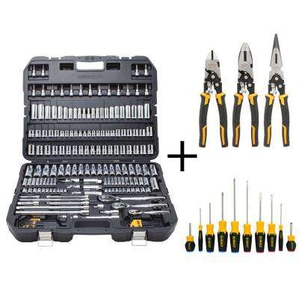Chrome Vanadium Mechanics Tool Set (192-Piece) with Plier Set (3-Piece) and Screwdriver Set (10-Piece)