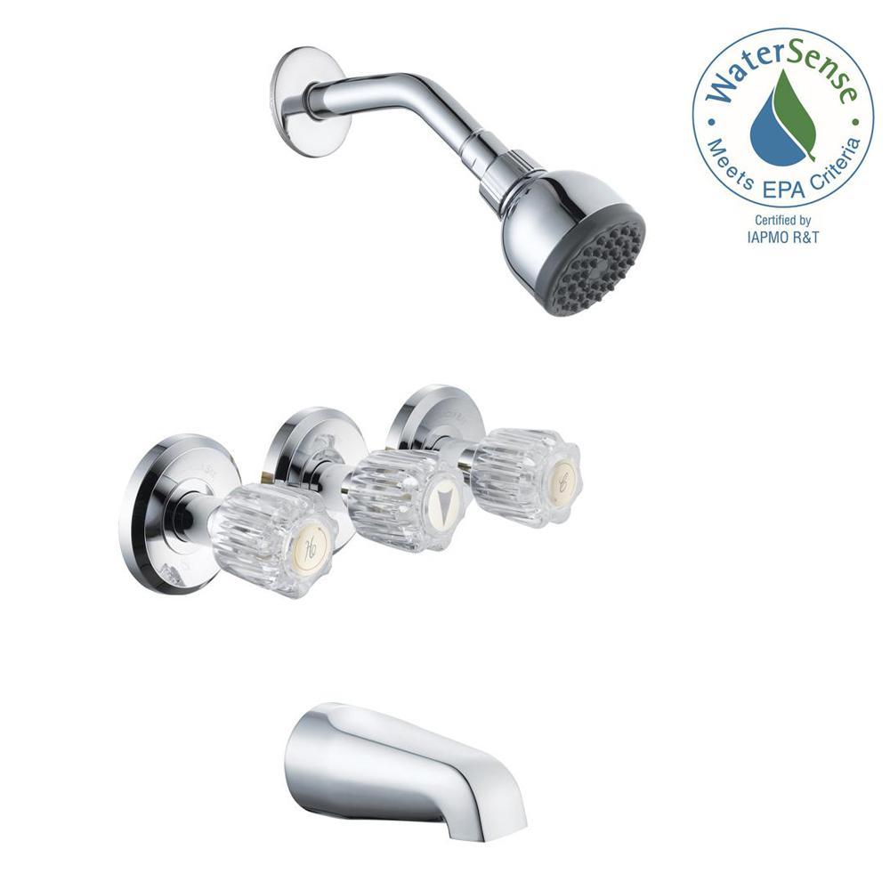 Glacier Bay Aragon 3-Handle 1-Spray Tub and Shower Faucet in Chrome (Valve Included) by Glacier Bay