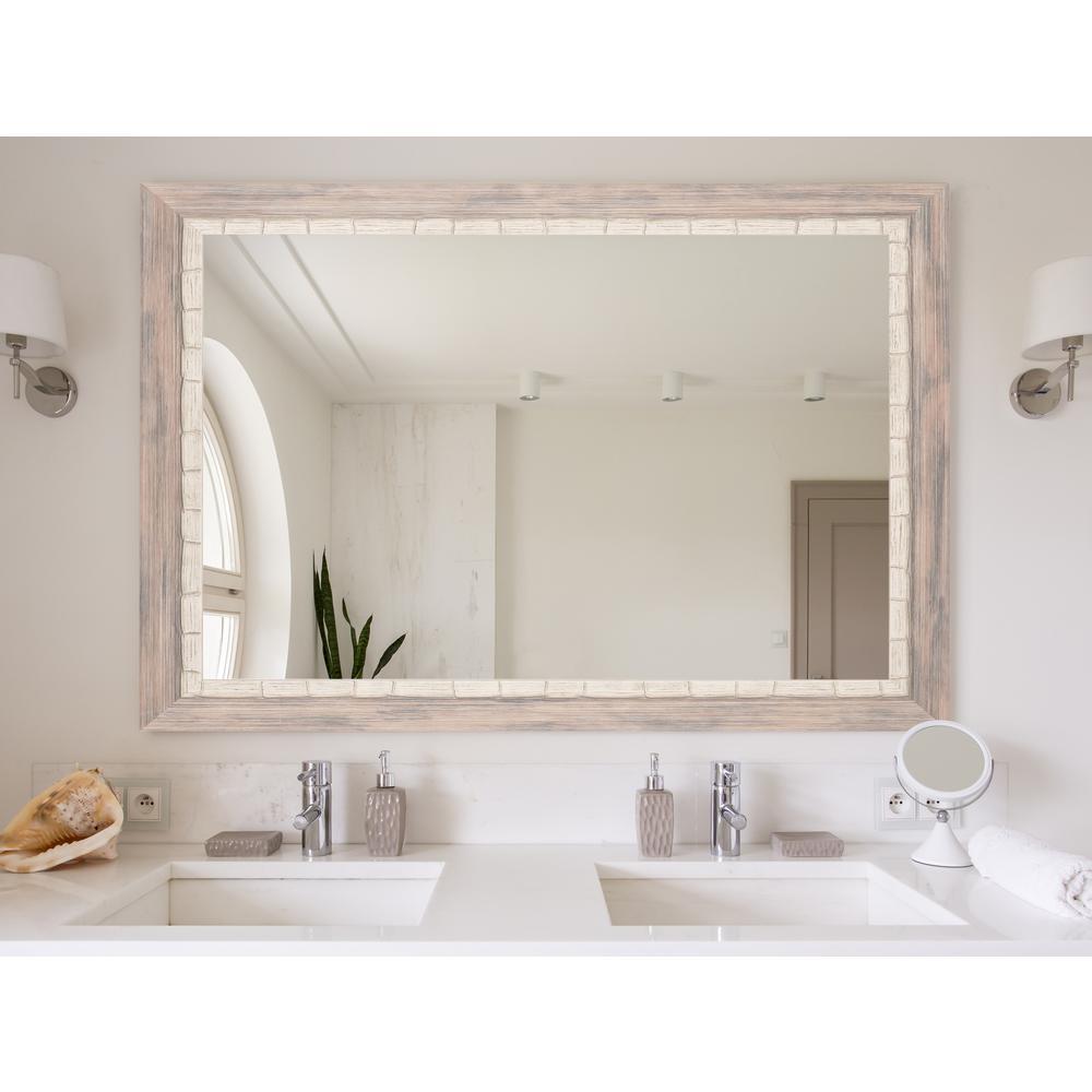 Weathered Cream Beach Framed Mirror
