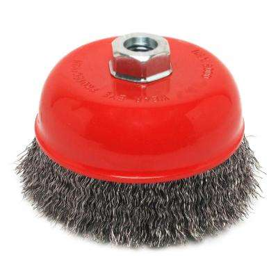 3 in. x 5/8 in.-11 Threaded Arbor Crimped Wire Cup Brush