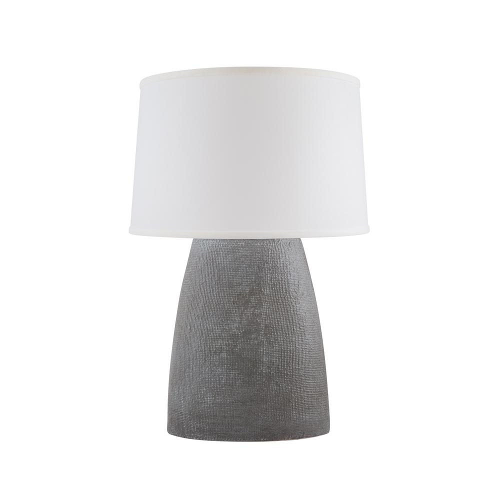 Burlap 28 in. White Washed Grey Indoor Table Lamp