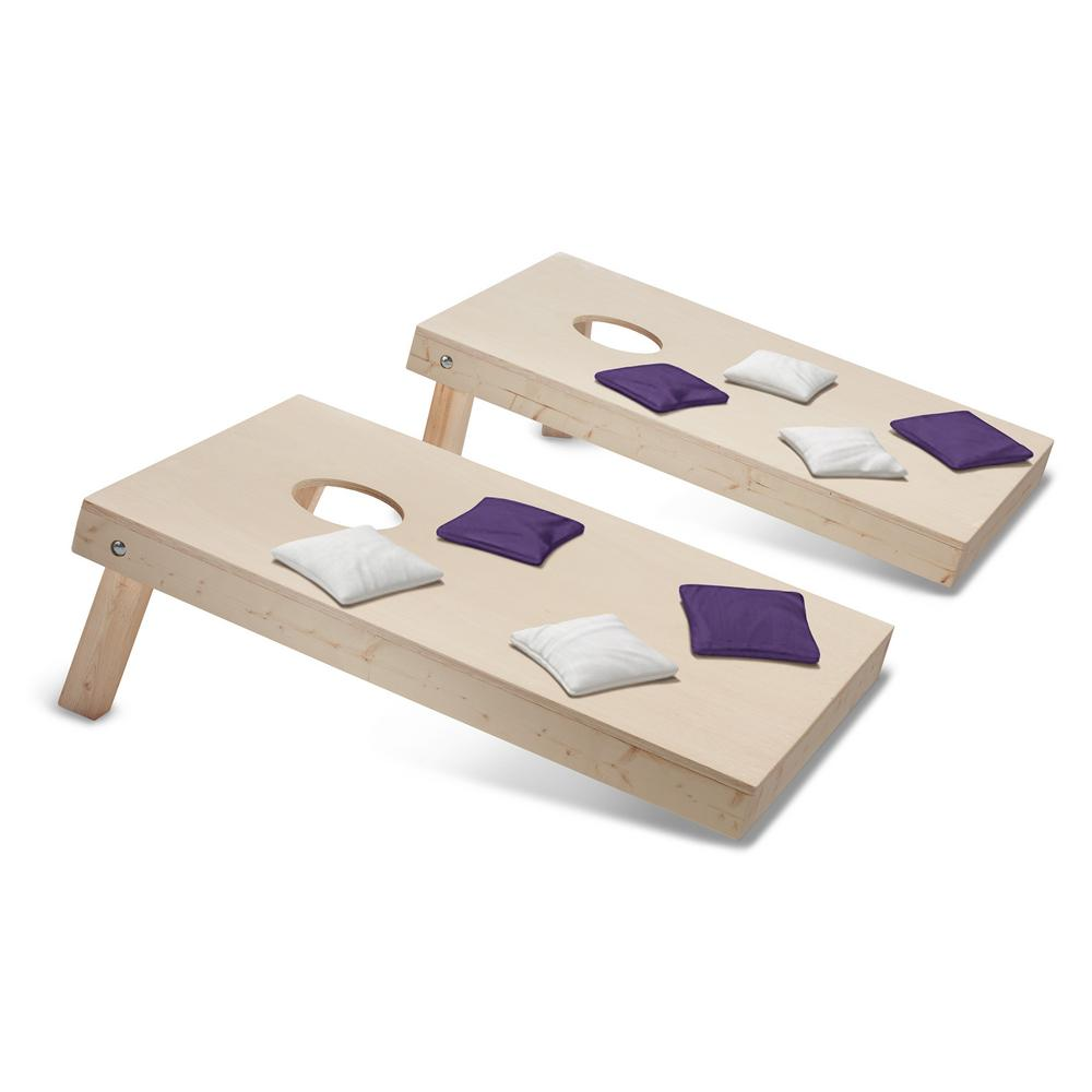 Take-And-Play Cornhole Toss Game Set with Purple and White Bags