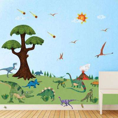 Dinosaur Peel and Stick Removable Wall Decals Dinosaur Room Theme (38-Piece Jumbo Set)
