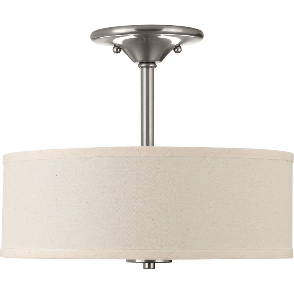 Progress Lighting Inspire Collection 13 In 2 Light Brushed Nickel Bedroom Semi Flush Mount P3712 09 The Home Depot