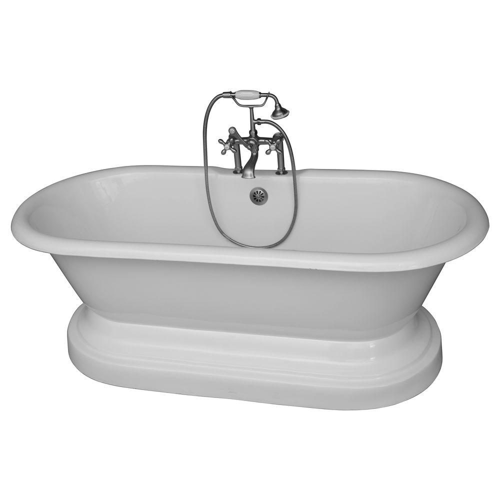 Barclay Products 5.6 ft. Cast Iron Double Roll Top Tub in White with ...