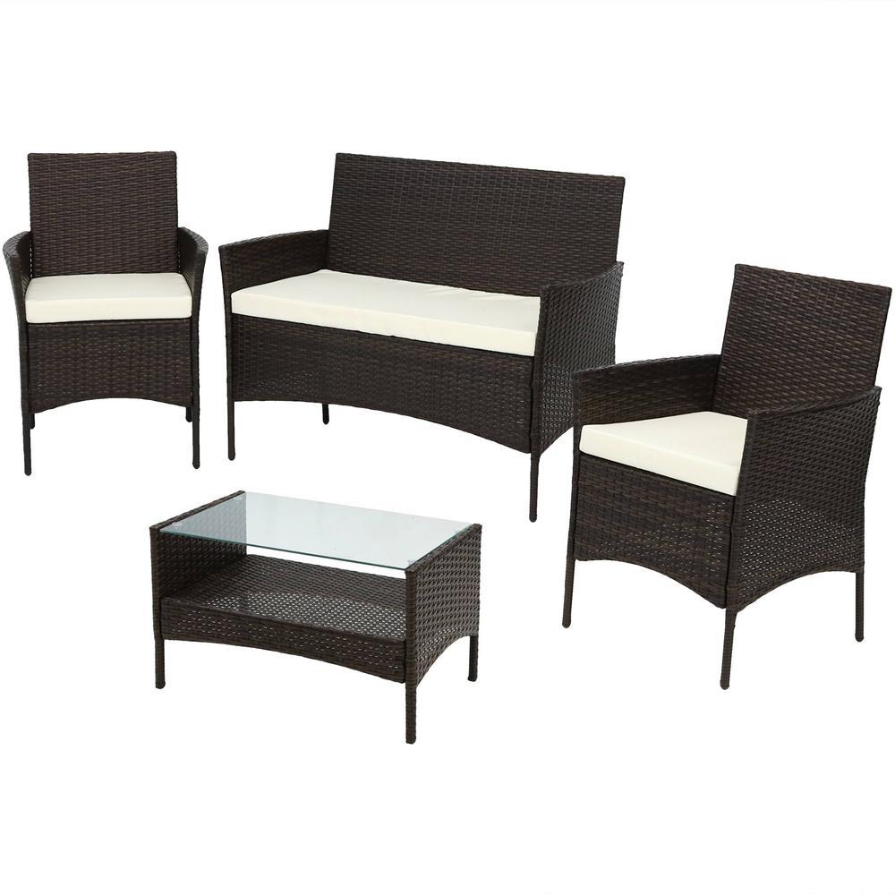 Galway Rattan Loveseat 4-Piece Metal Patio Furniture Conversation Set with Beige Cushions