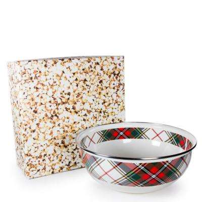 Highland Plaid 4.5 qt. Enamelware Popcorn Bowl with Gift Box
