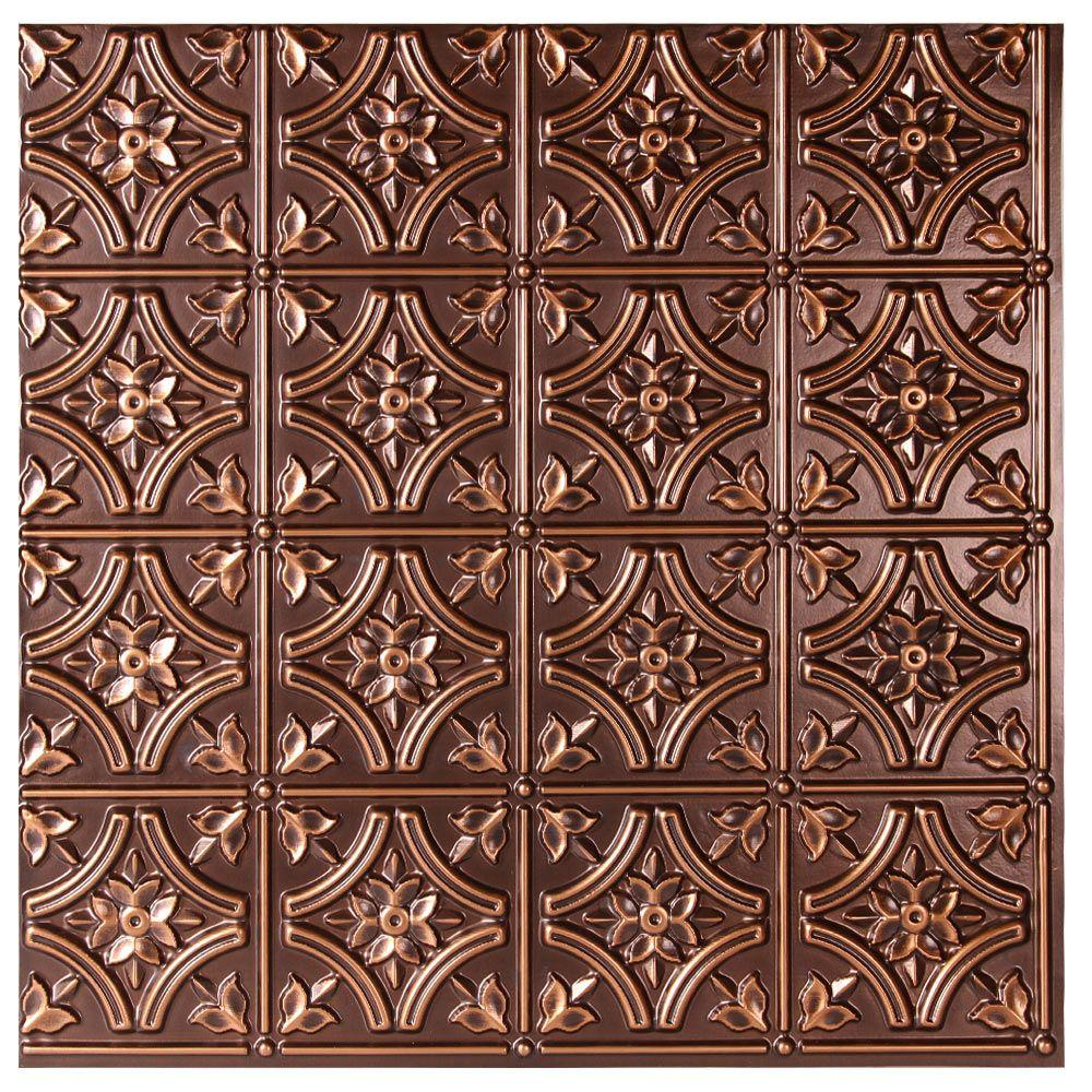 uDecor Valencia 2 ft. x 2 ft. Glue-up Ceiling Tile in Antique Copper (48 sq. ft. / case)-CT-150 ...