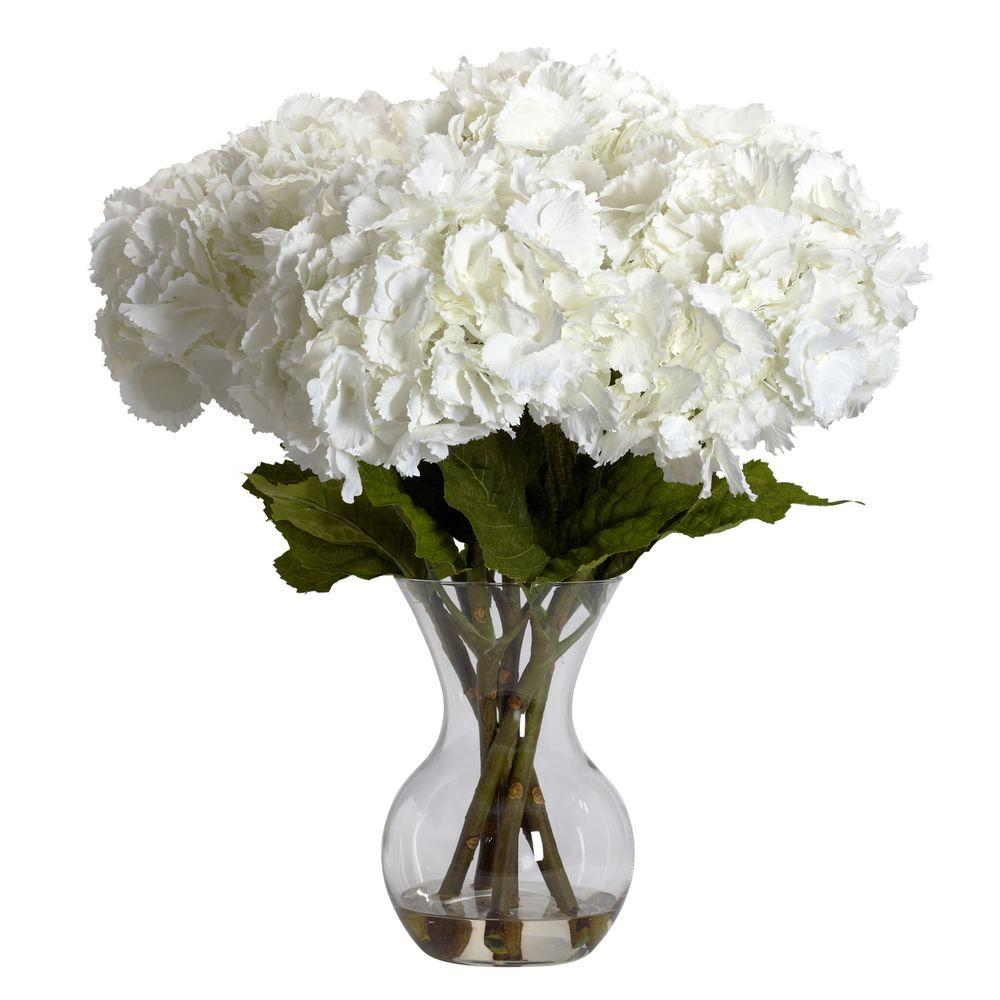 Nearly Natural 23 in. H White Large Hydrangea with Vase Silk Flower on shoes with top, dish with top, pen with top, urn with top, bucket with top, plate with top, bottle with top, cup with top, basket with top, desk with top, gold with top, mug with top, bench with top, box with top, platter with top, white with top, cabinet with top, chair with top, bed with top, bowls with top,