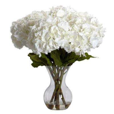 23 in. H White Large Hydrangea with Vase Silk Flower Arrangement