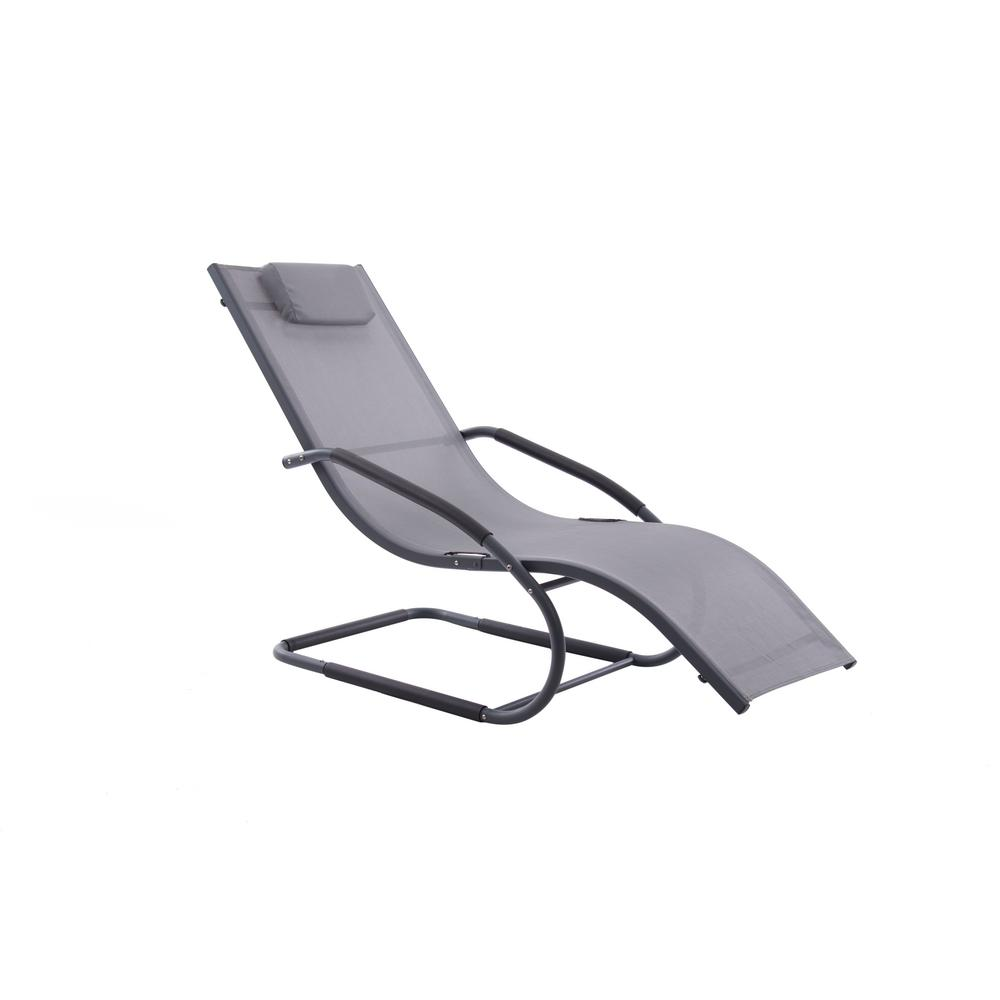Fantastic Vivere Vivere Matte Black Aluminum Outdoor Lounge Chair In Grey Sling Gmtry Best Dining Table And Chair Ideas Images Gmtryco