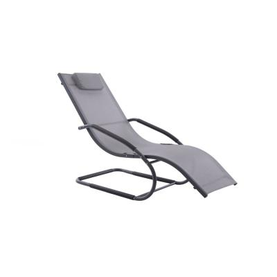 Vivere Matte Black Aluminum Outdoor Lounge Chair in Grey Sling