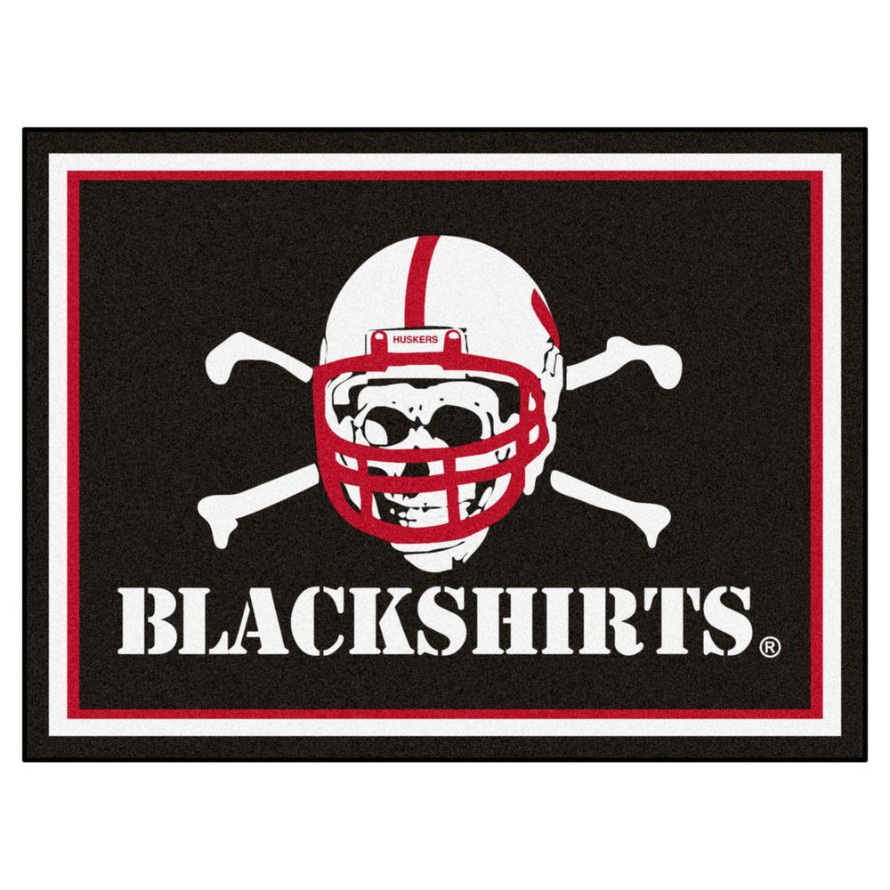 NCAA University of Nebraska - Black Shirts Ultra Plush 8 ft. x 10 ft. Area Rug