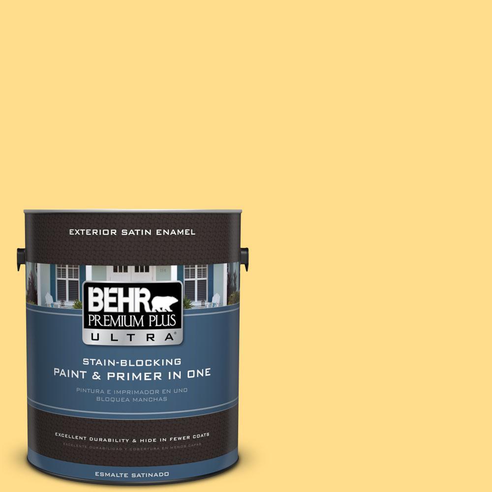 BEHR Premium Plus Ultra 1-gal. #330B-5 Yellow Corn Satin Enamel Exterior Paint