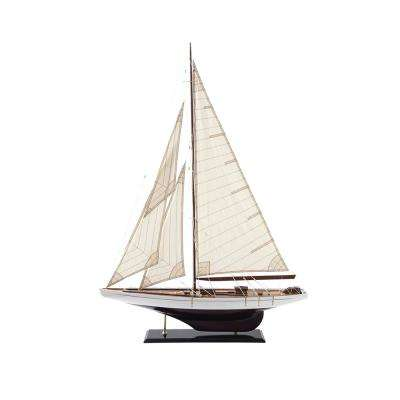 Waterside 53-1/2 in. Decorative Wood/Fabric Boat on Stand