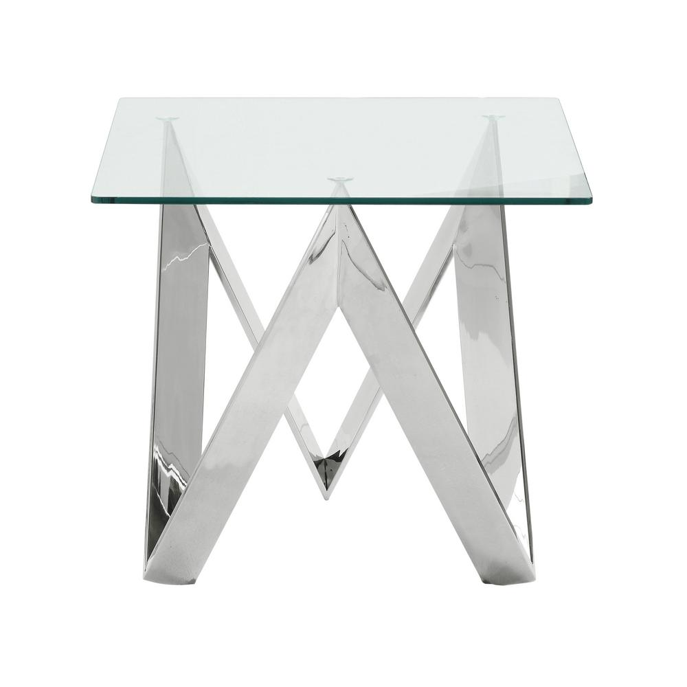 Armen Living Scarlett Clear Contemporary Square End Table In Polished Steel  With Tempered Glass Top