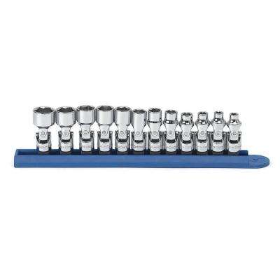 1/4 in. Drive 6-Point Metric Flex Socket Set (12-Piece)