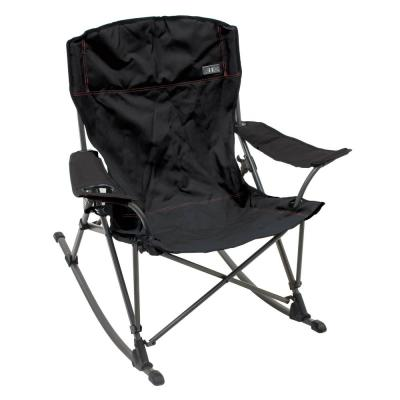 Soft Arm Quad in Black with Gray Metal Frame Outdoor Rocking Chair with Cupholder