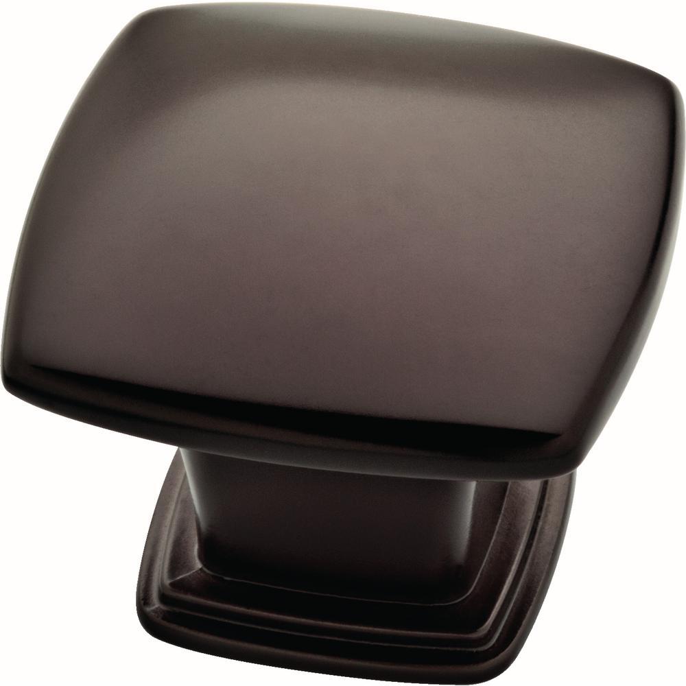 Essentials 1-1/5 in. (30 mm) Dark Oil Rubbed Bronze Soft Square Cabinet Knob (10-Pack)