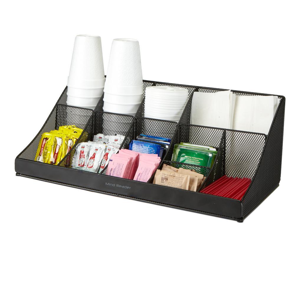 11-Compartment Black Metal Mesh Coffee Condiment Organizer