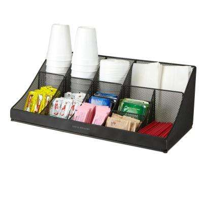 11 Compartment Black Mesh Coffee Condiment Organizer
