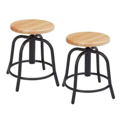 18 in. to 25 in. Height Wooden Seat and Black Frame Adjustable Swivel Stool (2-Pack)