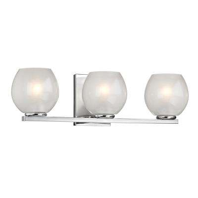 3-Light Polished Chrome Sconce with Frosted Glass Shades