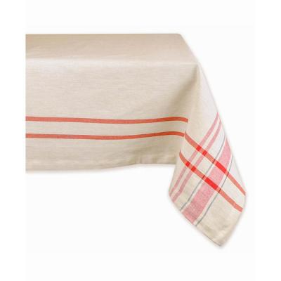 Christmas 60 in. x 104 in. Red French Stripe Cotton Tablecloth