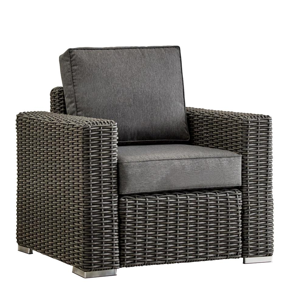 HomeSullivan Camari Charcoal Square Arm Wicker Outdoor Lounge Chair With  Gray Cushion