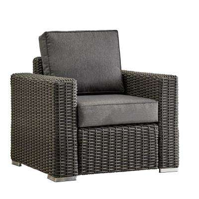 Camari Charcoal Square Arm Wicker Outdoor Lounge Chair with Gray Cushion