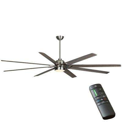 Cordoba DC 96 in. Integrated LED Indoor/Outdoor Brushed Nickel Ceiling Fan with Light and Remote Control