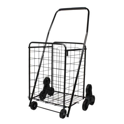 Black Metal Cleaning Cart with Deluxe Shopping Stair Climber