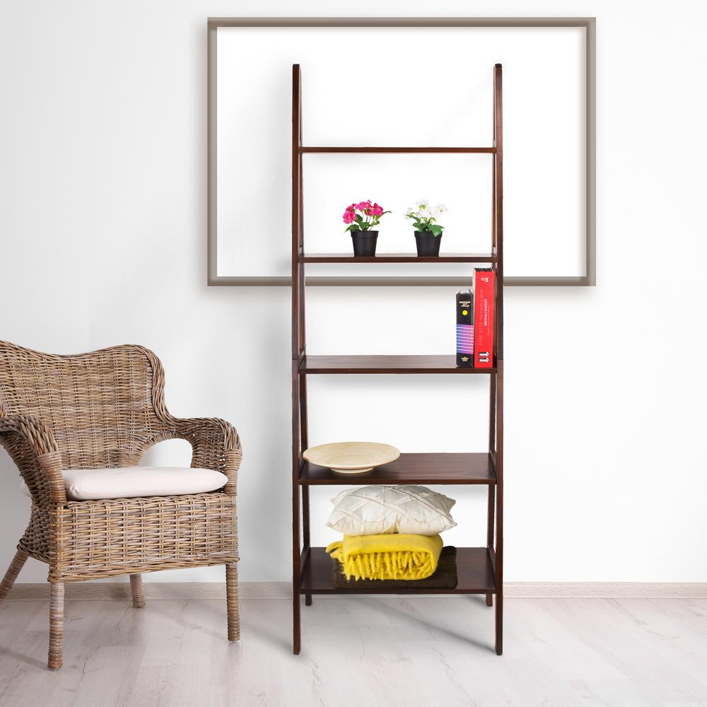 Casual Home Warm Brown 5 Shelf Ladder Bookcase