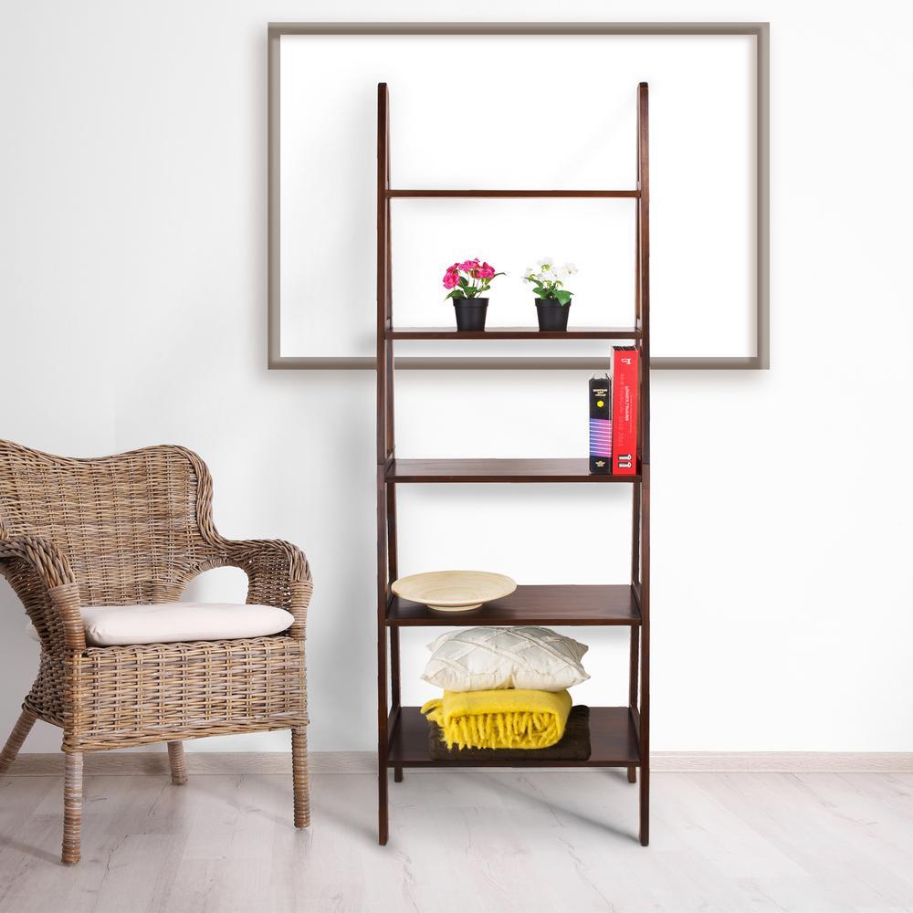 Warm Brown 5-Shelf Ladder Bookcase