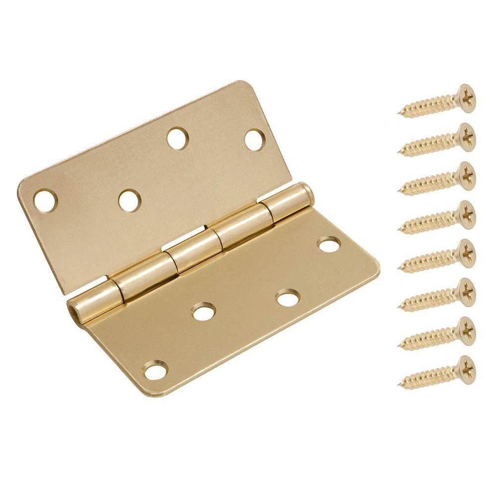 4 in. Satin Brass 1/4 in. Radius Door Hinge