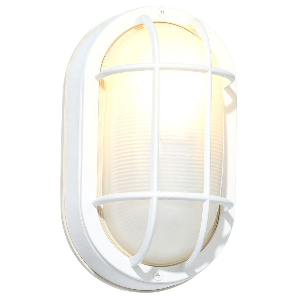 Hampton bay white outdoor oval bulkhead wall light hb8822p 06 the hampton bay white outdoor oval bulkhead wall light aloadofball Images