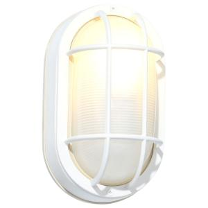 Hampton Bay White Outdoor Oval Bulkhead Wall Light by Hampton Bay