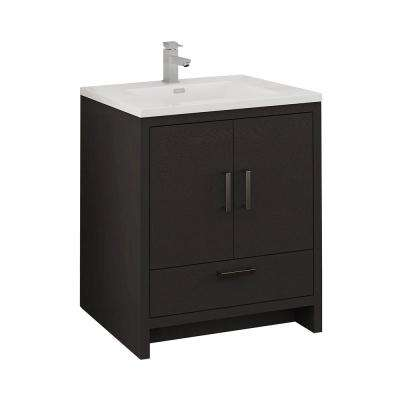 Imperia 30 in. Modern Bathroom Vanity in Dark Gray Oak with Vanity Top in White with White Basin