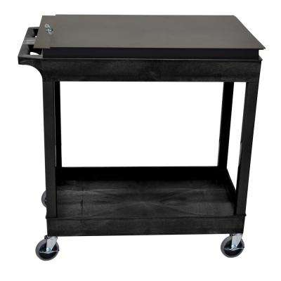 EC 35.25 in. Utility Cart with Locking Tool Box in Black